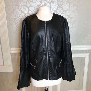 INC xxl faux leather moto bell sleeve jacket coat